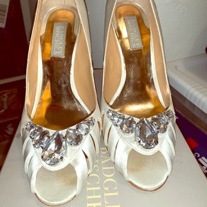 White satin Badgley Mischka heels